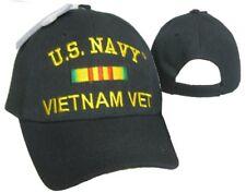 U.S. Navy Vietnam Vet Veteran Black Ribbon Embroidered Cap Hat 611B