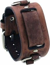 Nemesis Faded Brown Ring Genuine Leather Watch Cuff Band BFRB Vintage Style 20mm