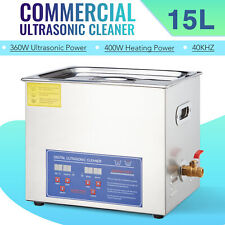 Commercial 15l Stainless Steel Heated Ultrasonic Cleaner With Digital Timer 110v