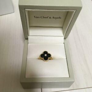 Van Cleef & Arpels Onyx Ring No. 7.5 Gold Used Serial Number Genuine F/S from JP