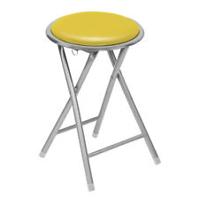 Premier Folding Stool Padded Yellow Seat Home Silver Chair Compact Furniture