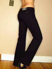 Seven 7 For All Mankind $169 Jet Black Slim Trousers Wide Leg Flare Jeans 24 XXS