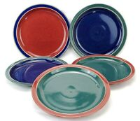 """Denby England Harlequin Set of 5 8.5"""" Luncheon Plates Blue Red Green Stoneware"""