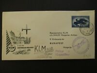 1956 Rotterdam Netherlands to Budapest Hungary Airmail First Flight Cover