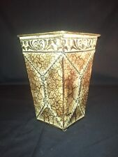 SQUARE TAN GOLD BROWN CRACKLED METAL CONTAINER -- GREAT VALUE - MUST SEE!!!