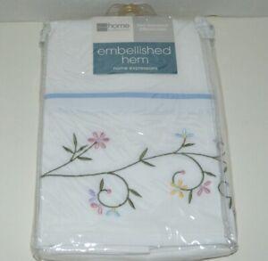 JC Penney Home Collection Embroidered Hem Floral Vine  Standard Pillowcase Set