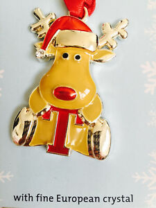 Mini Monogram Letter T Silver European Crystals Reindeer Christmas Ornament