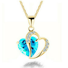 Women Heart silver Rhinestone Gold Plated Chain Pendant Necklace Jewelry A01