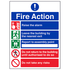 5 Point Fire Action Notice/Do Not Take Risks Health & Safety Signs