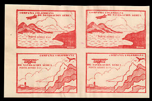 Colombia Air Post C11C-C11D 10c Red Brown Block of 4 VF MNH. PF Certificate. 2