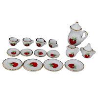 1/12 Dollhouse Miniature Dining Ware Porcelain Tea Set 15pc Strawberry Patt J7B1