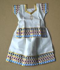 Baby wear Ethnic Pattu Pavadai Sattai in Beige Green Paisleys- 1 to 2 yrs