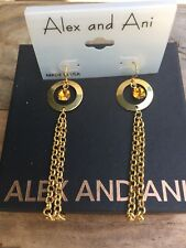 ALEX and ANI VINTAGE Dangle Drop GOLD CHANDELIER Topaz CRYSTAL Chain EARRINGS
