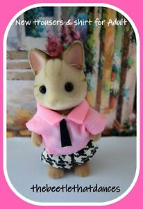 Sylvanian Families Clothes, New Trousers D Shirt & Tie for Adult Cat, Rabbit ETC