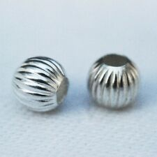 925 Sterling Silver 7mm Stardust  Round Spacer Beads 6pcs #5121-7