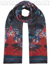 GIVENCHY red & teal Floral ULTRA PARADISE rectangular silk Scarf NEW Authen $650