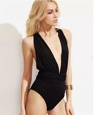 Black Plunging Neck Multiway Cross Wrap Bodysuit