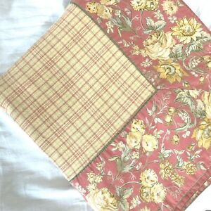 April Cornell Tablecloth Gold Red Plaid Floral Border French Country 52x95 Rect.