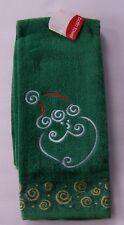 Christmas Bath Towel Santa Face Green Gold Swirl Home For The Holiday 21 x 42