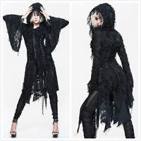 Devil Fashion CT037 Black Gothic Punk Visual Kei Kimono Sleeves Hooded Coat Top
