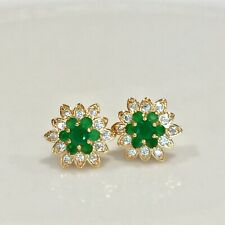 Fashion 18k Gold Filled Womens Yellow Green Christmas stud Earrings Jewelry