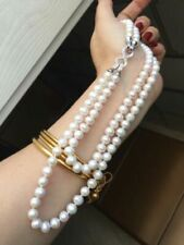 "Double Strand AAA Japanese Akoya 7-8mm white pearl Necklace 18"" 19"""