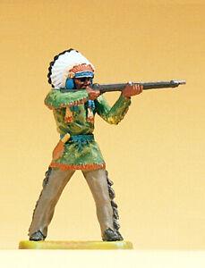 Preiser 54623 Maßstab 1:25 Figur Häuptling stehend, mit Gewehr #NEU in OVP