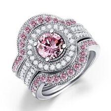 Fashion Women 925 Sterling Silver Pink Sapphire Wedding Engagement Ring Set