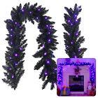9' Pre-lit Christmas Halloween Garland Black w/ 50 Purple LED Lights