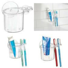 Bathroom Shower Suction Toothbrush And Toothpaste Holder Durable Clear Plastic