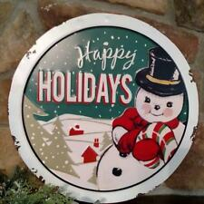 "NWT RAZ 16"" Retro Snowman Distressed metal CHRISTMAS Wall Sign Decoration"