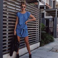 Summer Womens Fashion Short Sleeve Jeans Long T-shirt Casual Denim Mini Dress 41