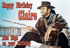Clint Eastwood Spaghetti Western cult Cowboy Birthday PERSONALISED Art Card