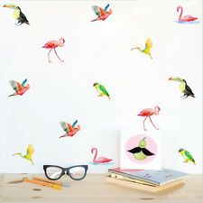 Aufkleber Bunte Vögel DIY Wandtattoo Sticker 36er Set Schwan Flamingo Papagei