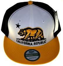 California Republic Snapback-White Black Cap with Yellow Brim