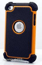 for iPod touch 4th g 4 4g itouch case triple layer black & orange soft hard
