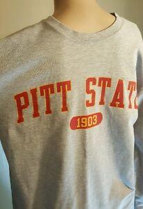 Jansport T Men's Shirt Long Sleeve Pitt State Gorillas Gray Size Small Football