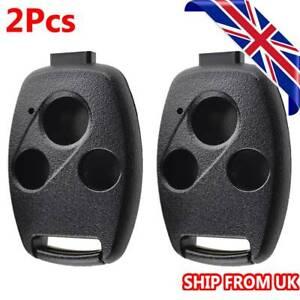 2Pcs Remote Key Shell Fob Cover For HONDA Accord Civic CRV CR-Z Pilot 3 buttons