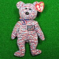 Ty Beanie Baby USA The Patriotic Bear Retired God Bless America - MWMT