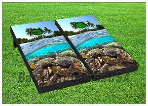 Ocean Coral Reefs CORNHOLE BOARD Set BEANBAG TOSS GAME w Bags Reef Coral S01437