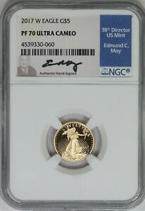 2017-W NGC $5 American Gold Eagle Proof PF70 Ultra Cameo Ed Moy Signature Label
