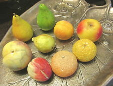 9 PIECES VINTAGE ALABASTER STONE FRUIT PEAR FIG APPLE APRICOT ORANGE AND MORE