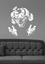 Scary Clown Vinyl Wall Decal Evil Jester Sticker Sinister Circus Art Decor scw1