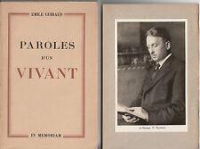 GUIRAUD Emile / Paroles d'un vivant. Editions 0ratoire du Louvre 1938.