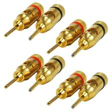 8 Pcs Banana Plug Audio Speaker Cable Wire Connector Pin Screw 24K Gold Plated