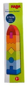 "HABA STEM Rainbow Rocket 9 Wooden Shaped Blocks 8.5""x2""x2"" Age 1+ #302206"