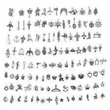 100PCS Mixed Vintage Silver Charm Pendant for Bracelet Necklace Jewelry Makings