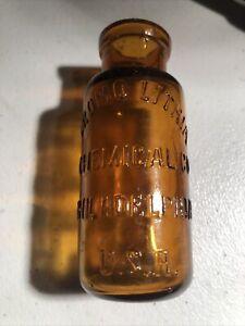 DECORATOR BOTTLE-Orange Amber Bromo Lithia Chemical Bottle-1890s