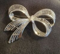 Vintage Silvertone Bow Brooch Signed Napier Jewellery