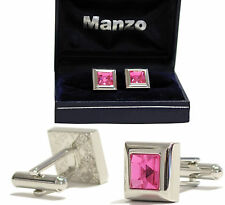 New Men's Cufflinks Formal casual Party Prom Wedding stone Pink #28
